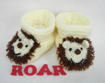 Baby Booties, Lion, Newborn to 6 Months Finely Finished Crochet Baby Gift