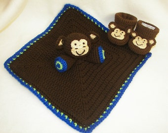 Baby Booties and Security Blanket, Incredibly Soft Brown Monkey, Fleece, Baby Lovey, Stuffed Animal, Baby Gift Set