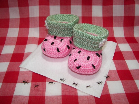 Baby Booties, Pink Watermelon NB to 6 Months Finely Finished Crochet