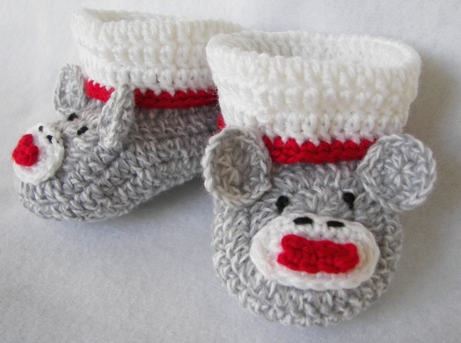 Baby Booties Sock Monkey NB to 6 Months Finely Finished