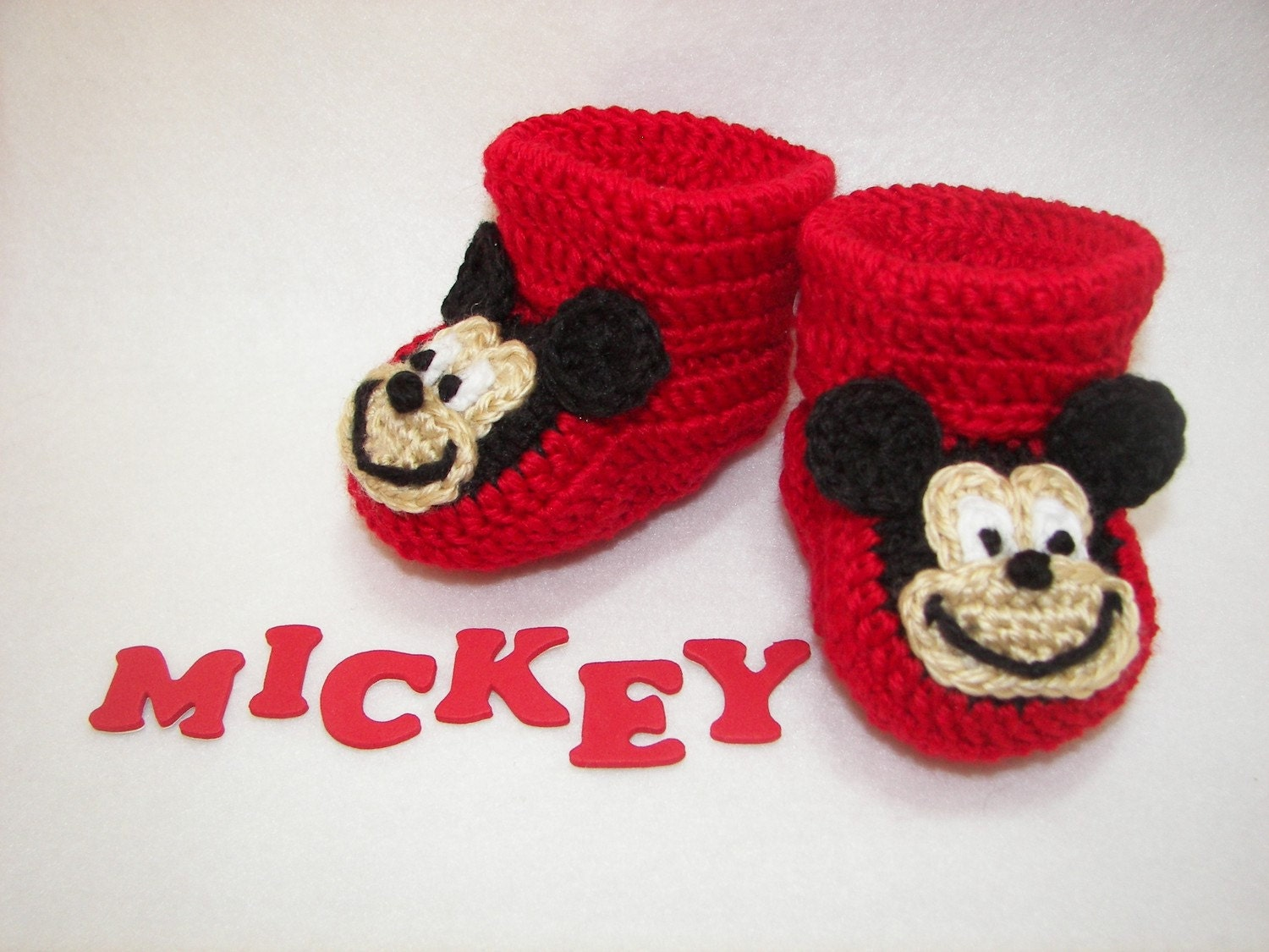 Free Crochet Pattern Minnie Mouse Shoes : Baby Booties Mickey Mouse NB to 6 Months Finely Finished