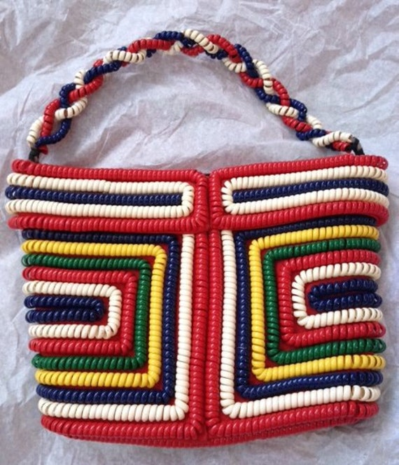 Vintage 1940s 1950s Phone Cord Telephone cord colorful plastic purse