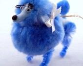 Blue Pom Pom Poodle Ornament, Retro 50s 60s Style Nostalgia