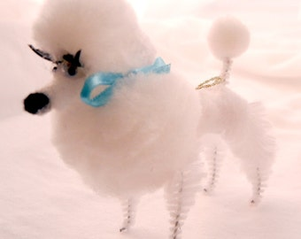 White Poodle Dog Pom Pom Decoration, 50s 60s Retro Style