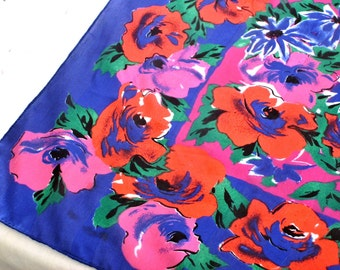 Bold Floral Scarf in Saturated Color Blue Red Fuchsia and Green, Vintage 80s
