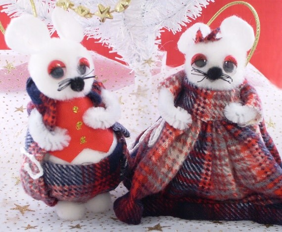 Fluffy Mouse Christmas Ornament Set, White Pompom Mice Couple in Red Plaid Clothes