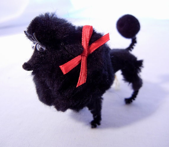 Black Poodle Christmas Ornament Decoration with Red Bow, Retro 60s Style