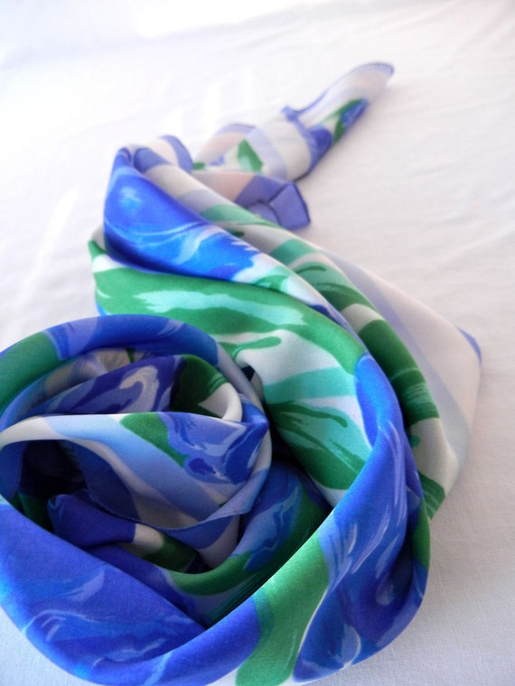 Scarf with Spring Blue Tulips and Green Leaves, Washable, Vintage