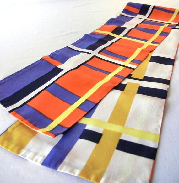 60s Mondrian Stripes Scarf, Reversible design in Purple Orange Yellow Black White