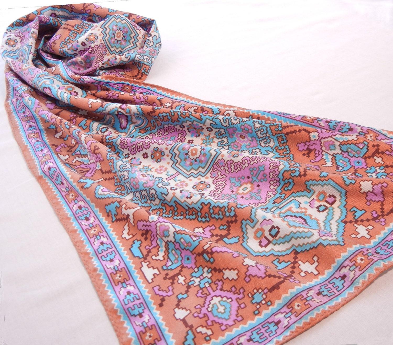 Kilim Print Scarf Vintage Pastel Persian Rug By