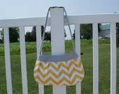 Large Yellow Chevron Buttercup Bag with gray accents