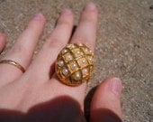 Ring Lot: Trio- Renaissance-Style with 17 Pearls, CZ and Black, Orange Faux-Coral