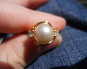 Ring Lot: Duo- Pearl and CZ, 15 Garnets