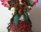 Christmas tree topper OOAK dried floral angel in pink