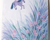 original horse painting Horsefly flying horse pastel and pink