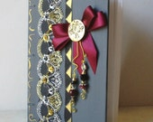 Silver gold journal ON SALE with burgandy 5 X 7