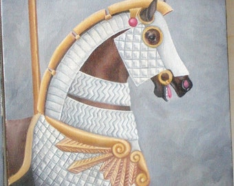 Original armored Carousel Horse painting acrylic in silver and gold