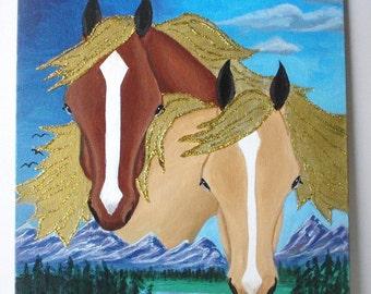 Horse painting - Folk Art style - horses on colorful landscape background