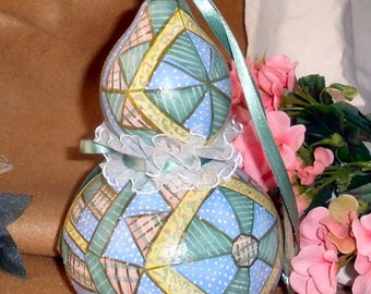 patchwork quilt  gourd - Pretty in pastel handpainted OOAK