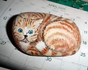 Tabby Cat handpainted river rock