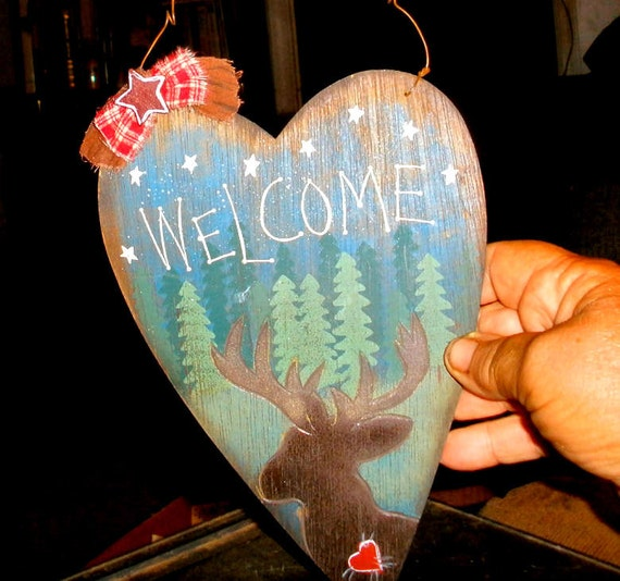 Woodsy Country Welcome sign - Moose and pines - rustic country