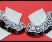 Satin and White with Silver Lace Double Ruffle Socks.. U Pick Any Solid Color - perfect for church, weddings, baptism, Christening, pageant