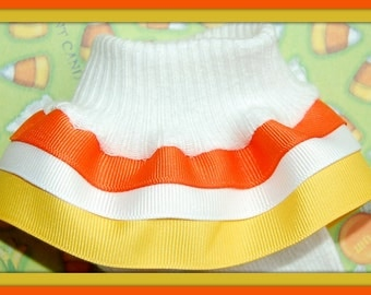 Candy Corn TRIPLE Ruffle Socks...Perfect for Fall and Halloween...custom colors available