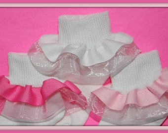 GORGEOUS Sheer and Grosgrain Ribbon Double Ruffle Socks in YOUR CHOICE of 13 Colors...