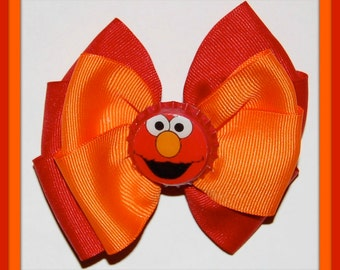 5 DoLLARS-ELMO Bottle Cap 4-Inch Hair Bow...Last One...PIF...Another Pay-It-Forward Item-Clearance...