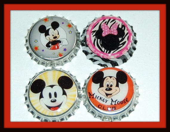 Set of 4 Classic Mickey and Zebra Minnie Mouse Finished Bottle Caps...Great for Crafts, Magnets, Hairbows...