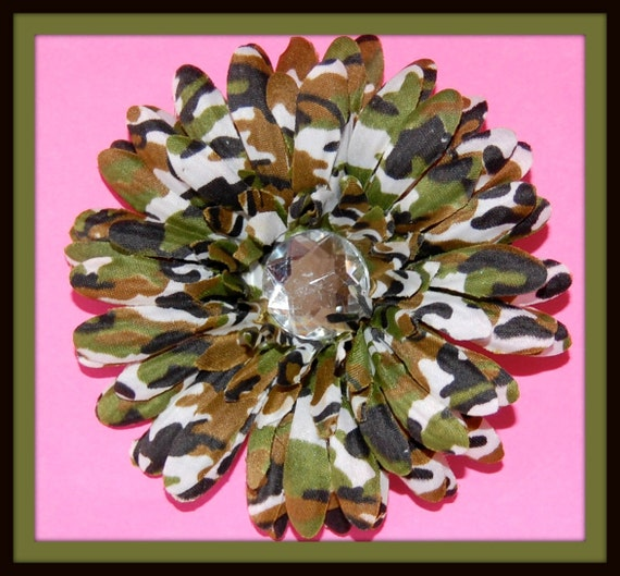 Beautiful Camouflage 4 Inch Silk Flower Hair Clip...SALE...SALE...