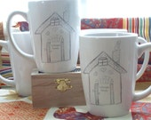 Personalized Gift, Couples Gift, Mugs, Personalized Wedding Gift, Valentines, anniversary, Personalized, Home, Little House, Cups (set of 2)