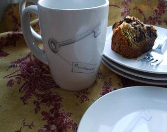 Personalized gift, skeleton key, dishes, dessert set, wedding, anniversary, housewarming gift, plates, mugs