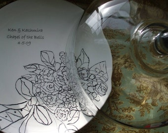 Holiday Gift, Wedding, Custom Wedding Gift for Couple, Serving, Personalized Bridal Bouquet, China Cake Plate with Glass Dome