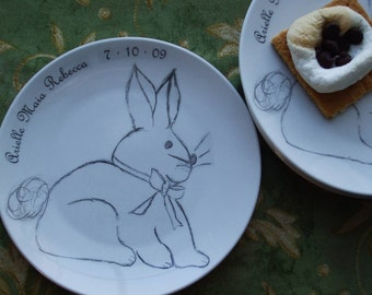 Bunny, dishes, rabbit, personalized baby gift, new baby, plates, baby shower, Plates (set of 4)