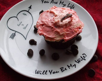 Pop the Question, Valentine, Wedding Proposal, Personalized proposal plate, heart, dish
