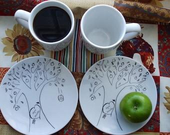 Wedding dishes Valentine couple personalized wedding gift couples gift anniversary gift  apple tree mug plate dishes set 2/2