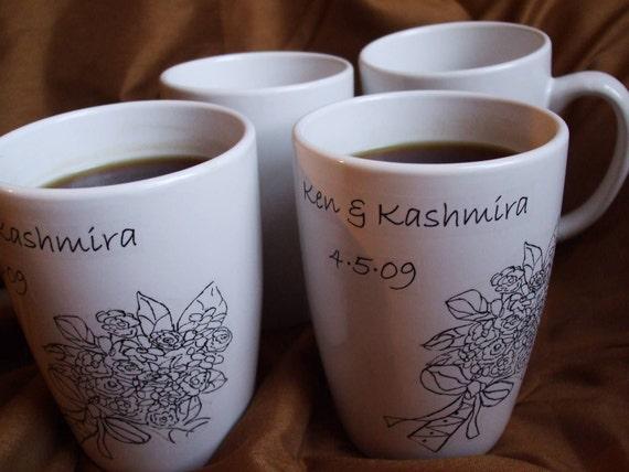 Wedding Decor, Custom Personalized Bridesmaids Mugs, Wedding Party, Gifts Bridal Bouquet Mug Set of 8