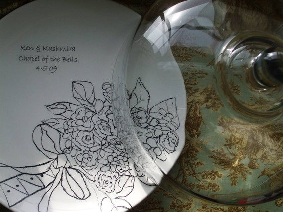 Wedding, Custom Wedding Gift for Couple, Serving, Personalized Bridal Bouquet, China Cake Plate with Glass Dome