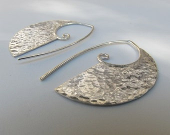 Large Old World Hammered Sterling Silver Earrings