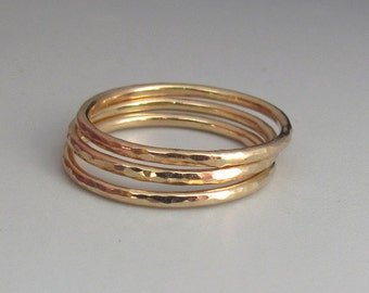 A Set of Three Gold Slim Stacking Rings
