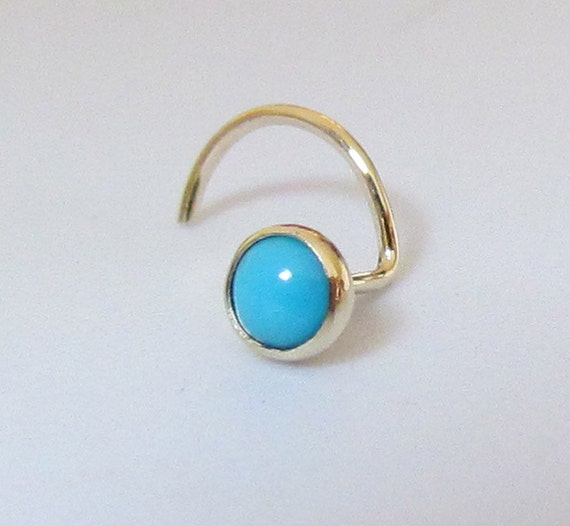 Turquoise 14k Solid Gold Nose Stud SPECIAL SALE