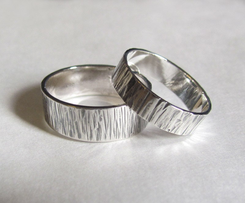 His And Hers Bands Wood Grain Wedding Rings Set