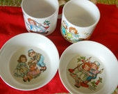 Vintage Raggedy Ann and Andy child's bowls and cups, dishes 1969