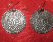 Rare Vintage Swedish Iron Crown Coin EARRINGS