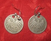 Authentic  Vintage  German  Eagle Coin  Earrings