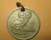 Authentic Vintage  Greek Athena Owl Phoenix Coin Pendant