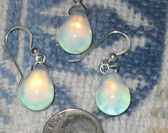 Sterling Silver Sea Opal Opalite Glass Teardrop Pendant Earring Set