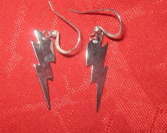 Small Mini Stainless  Steel  Lightning  Bolt  Earrings