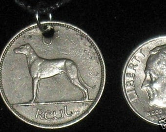 Authentic  Vintage  Irish Wolfhound Coin Pendant